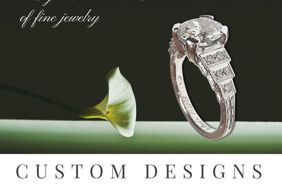 Bespoke 2.57 carat diamond engagement ring. Custom made and hand-engraved.