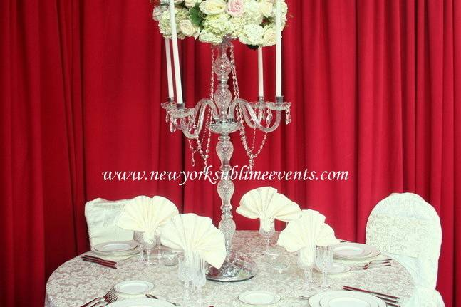 Crystal candelabra centerpieces rental. Call: 718-744-8995 #candelabra #centerpieces