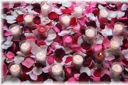 Silk rose petals with candles from Petal Garden