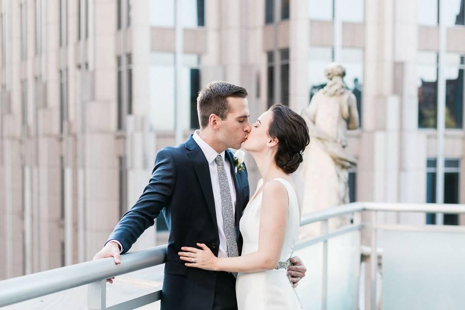 Kissing on the balcony