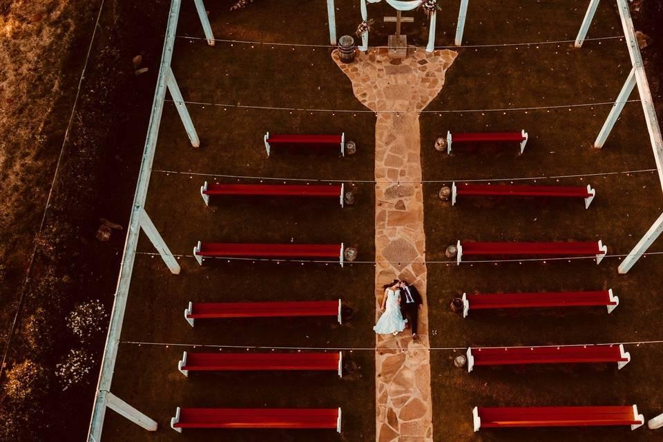 Drone photo of ceremony area