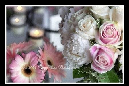 Watercolor flowers.  Detail shot.