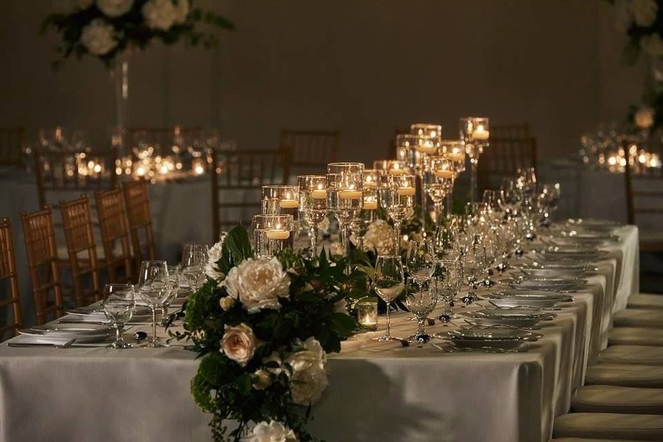 Long table with warm lights