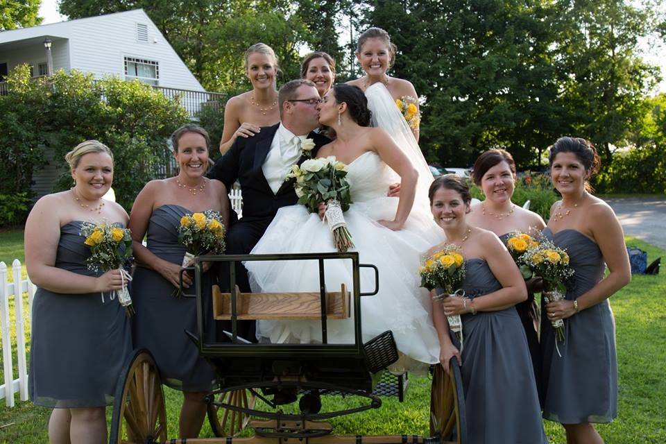 Newlyweds and the bridal party