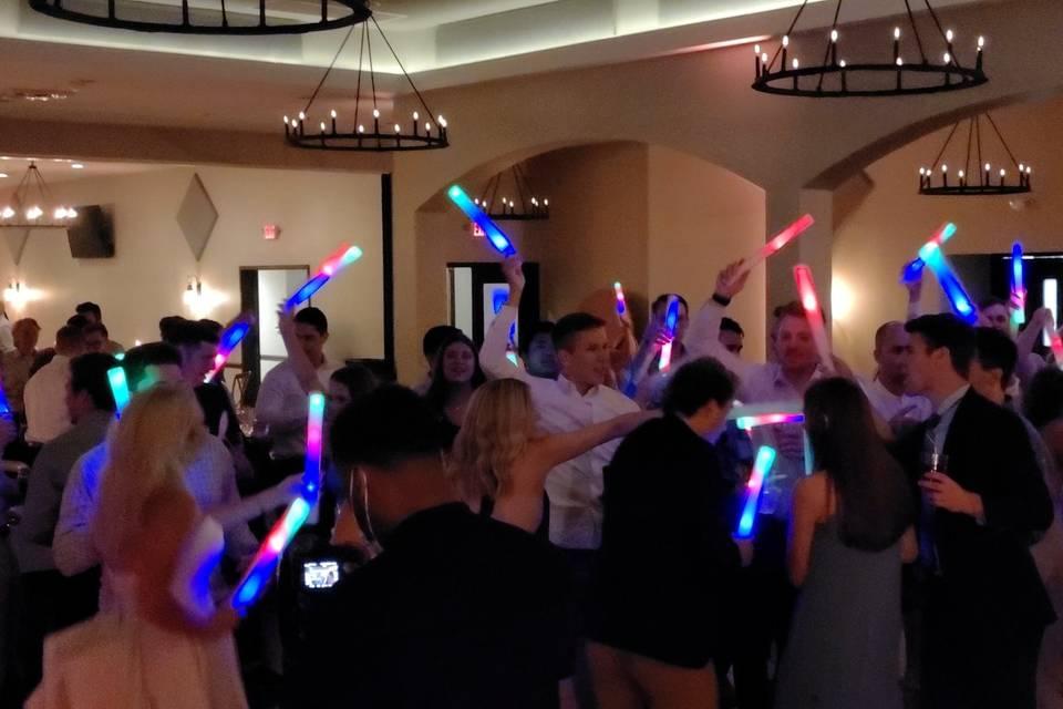 Glow sticks on the dance floor