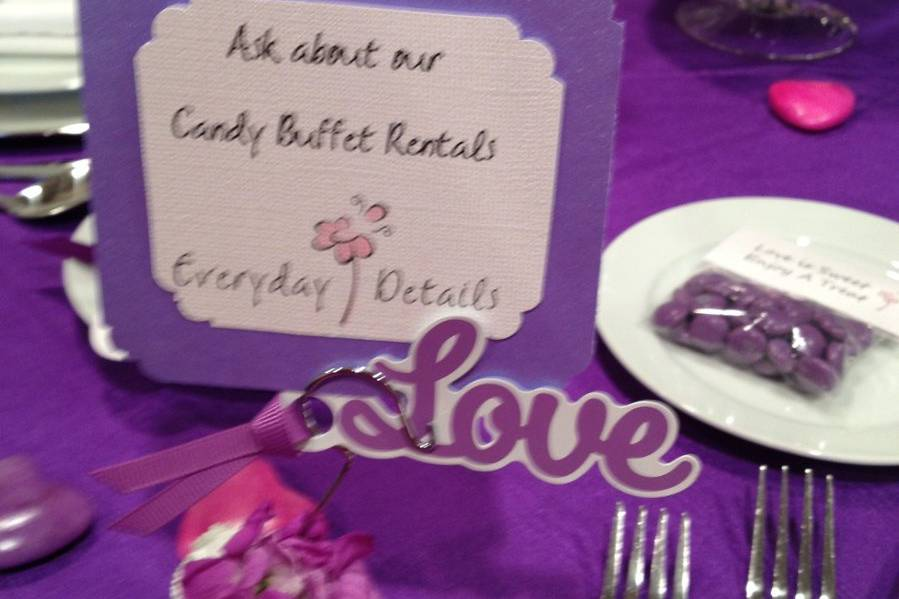 Candy rental sign
