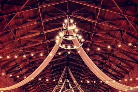 Barn lighting and drapes