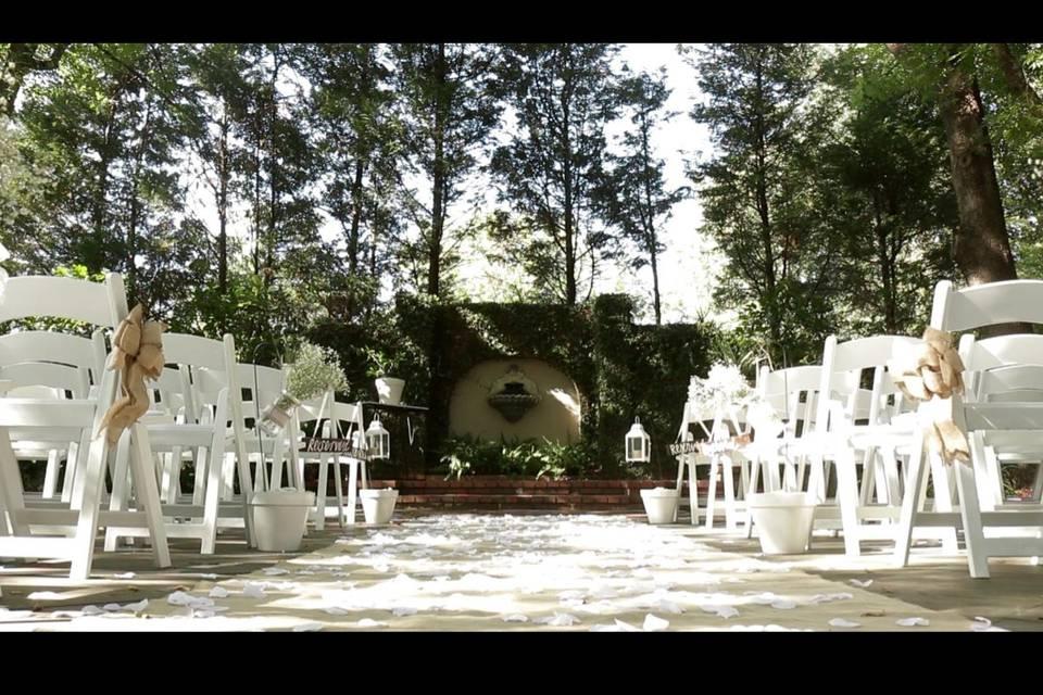 Outdoor ceremony setup - Endless Cinema