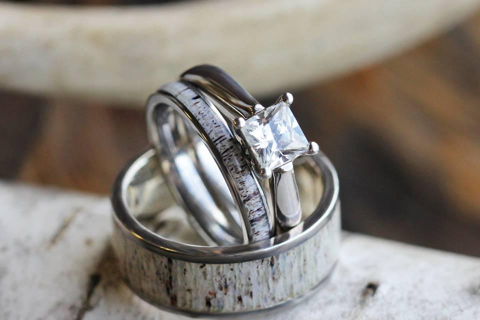 Deer antler wedding ring set with princess cut moissanite engagement ring (ring set sku 3438). Featuring coordinated antler in both wedding bands