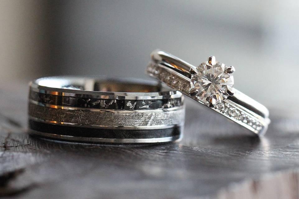 Meteorite, stardust and black box elder burl wood band (sku 1809) paired with diamond bridal set (sku 3488)