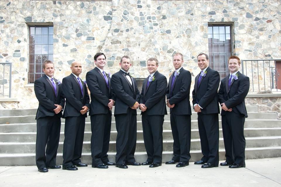 A line of men