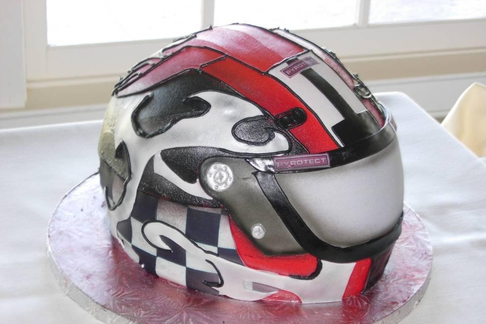 Motor helmet inspired cake