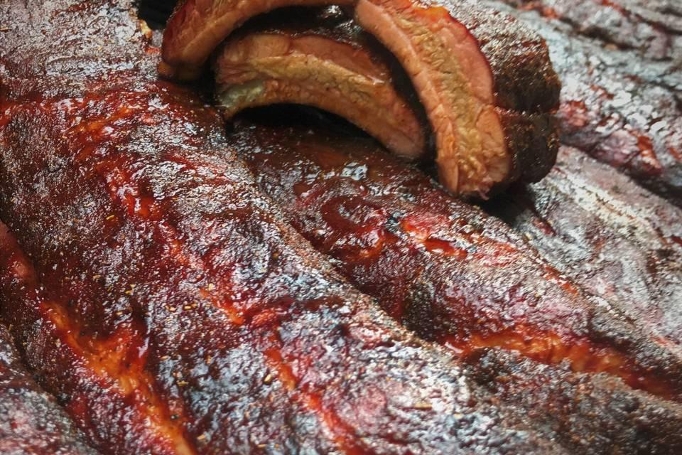 Bourbon glazed ribs