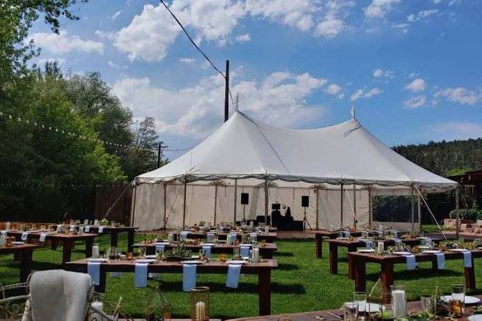 A rustic outdoor banquet