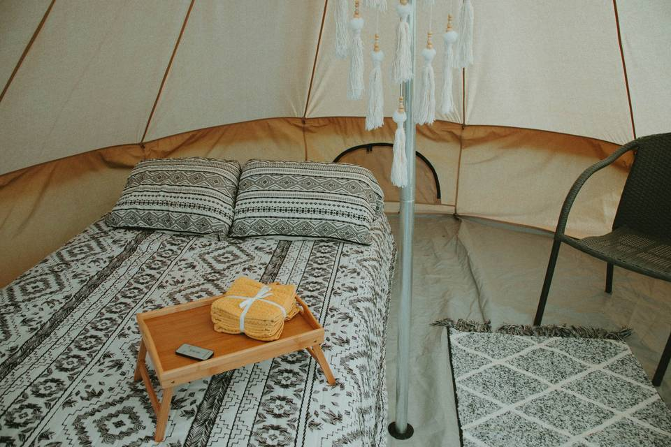 Accomodations in Glamping Tent