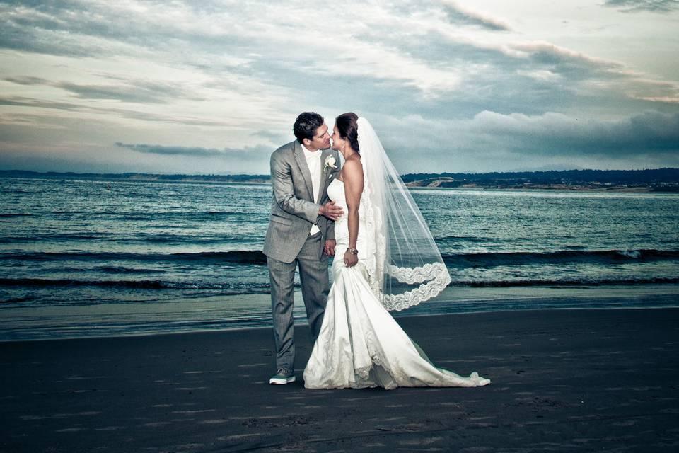 Winter wedding on the beach