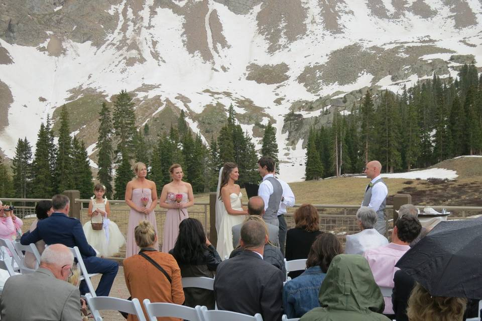 A Sharp Dj service at Arapahoe Basin for an outdoor ceremony in June.