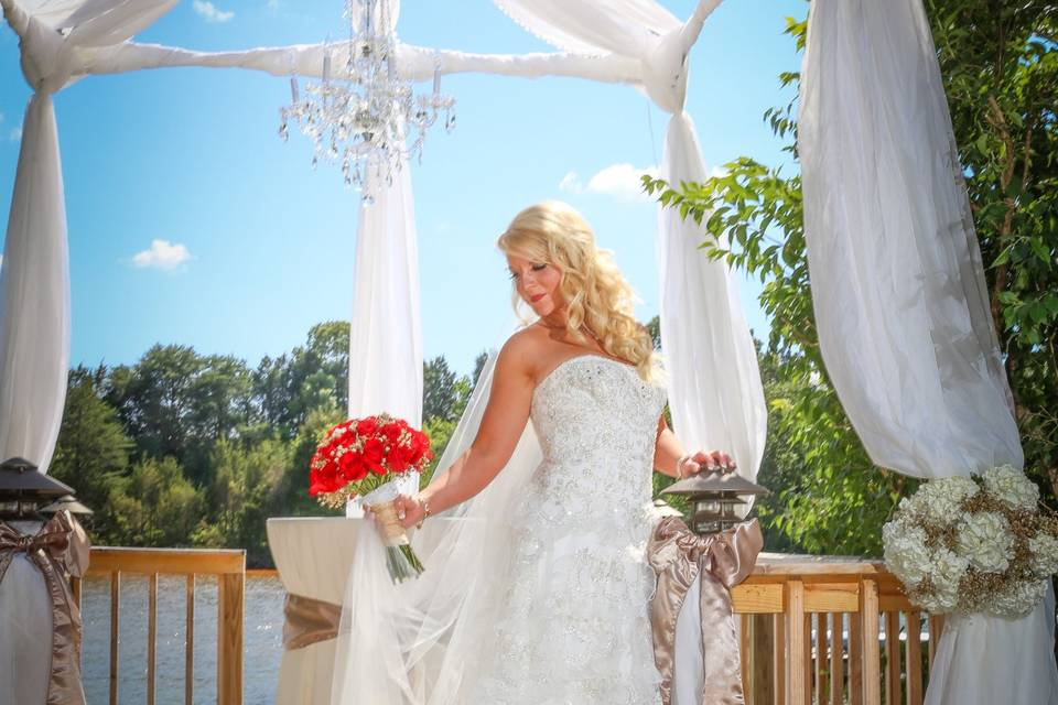 Bride in the wedding cabana