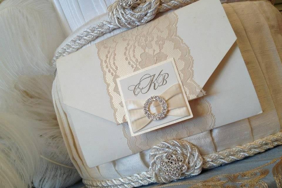 White invitation card