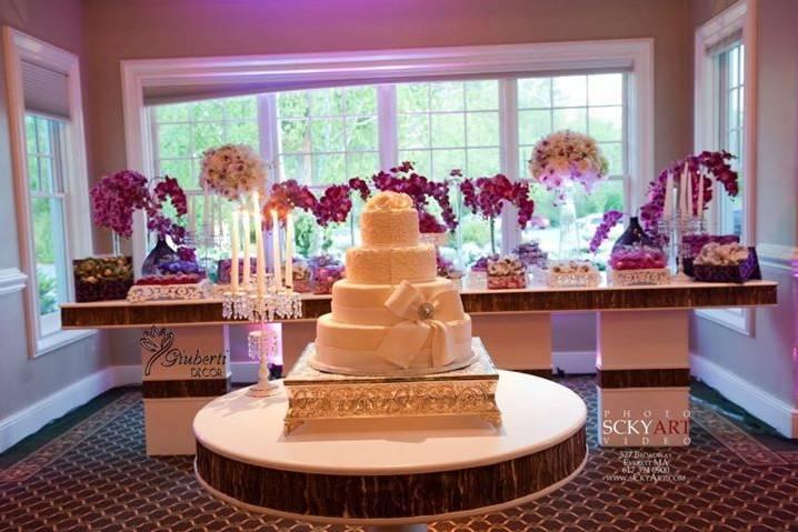 Four-layered wedding cake