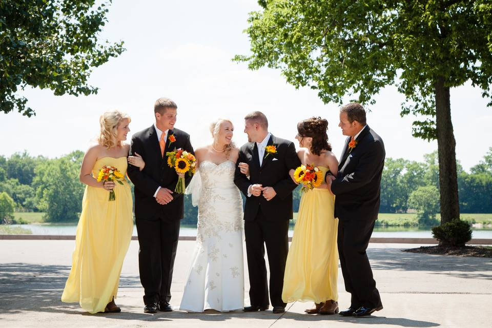 Yellow dresses and bright flowers