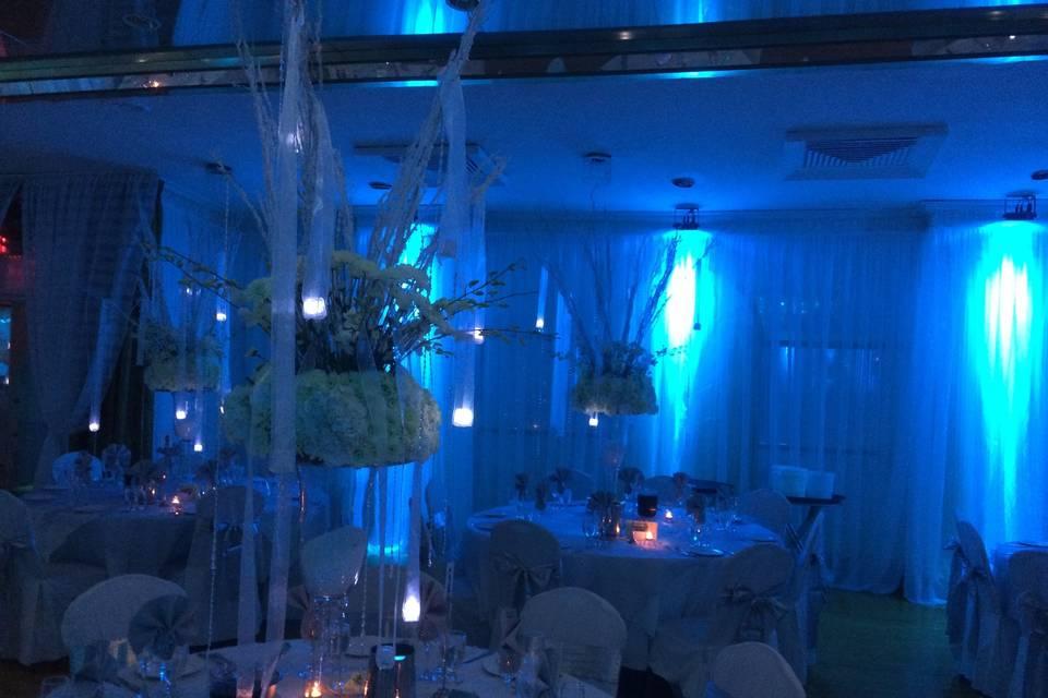 Atmospheric blue lighting