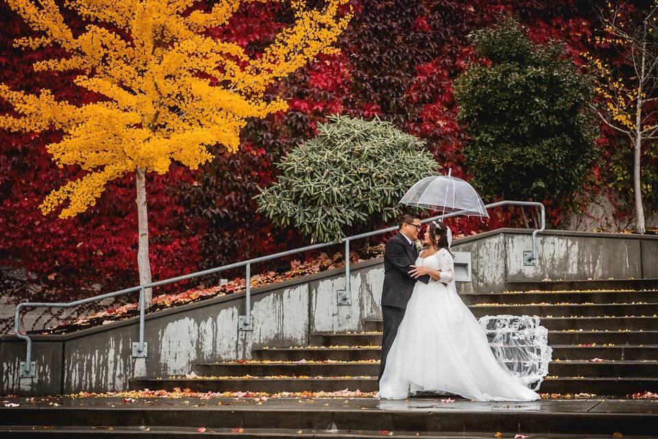 Fall wedding on the boardwalk