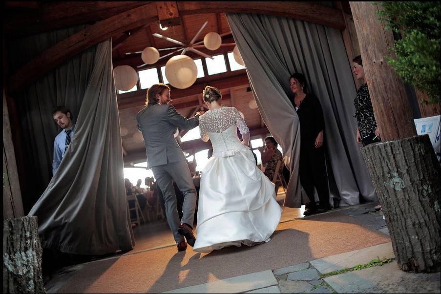 Couple entering the reception