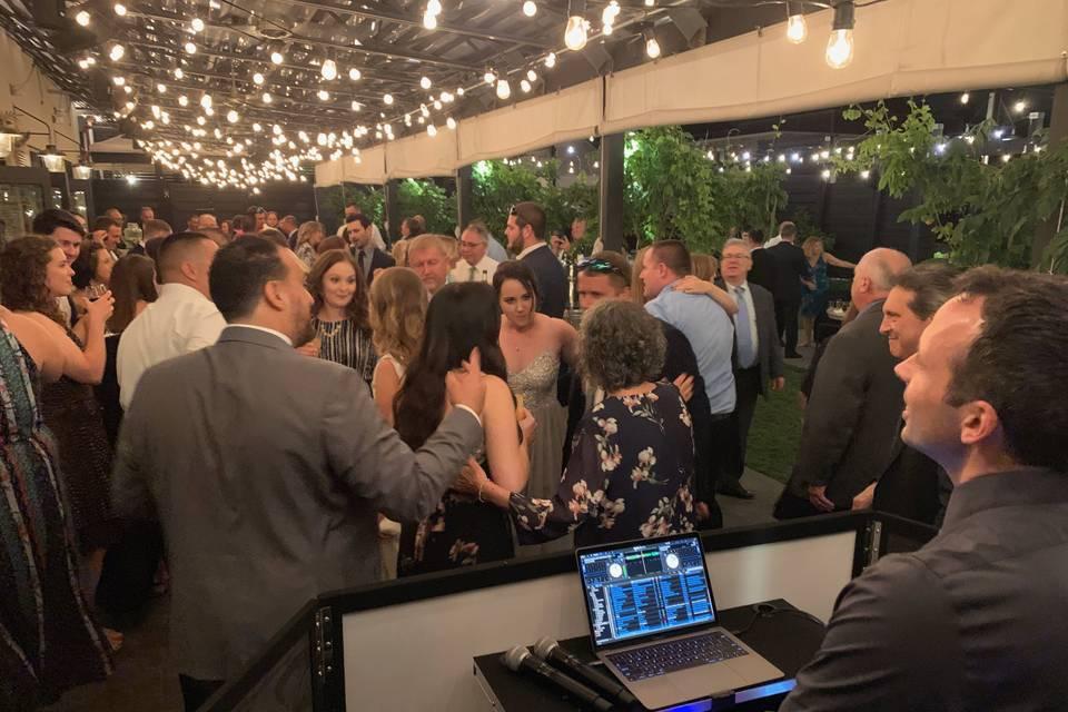 DJ'ing the reception