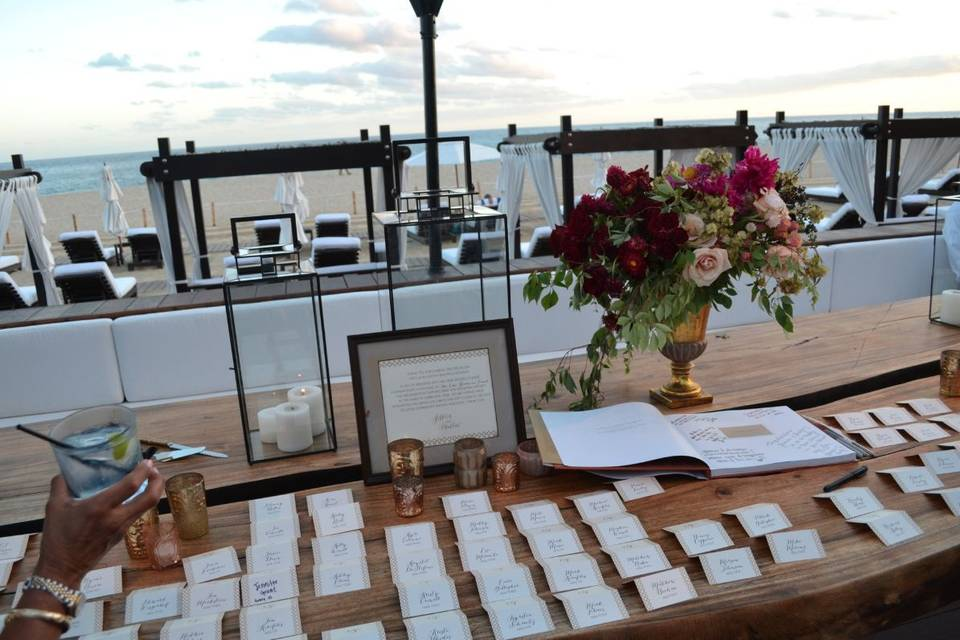 Table name plates and sample centerpieces