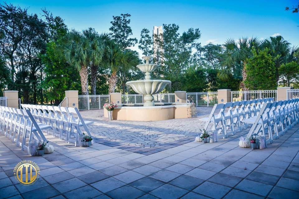 Ceremony on the fountain patio