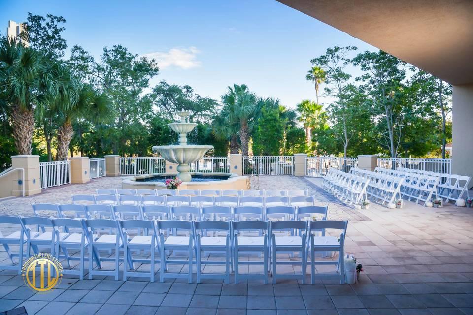 Fountain patio ceremony