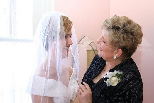 Bride and her mother before wedding.