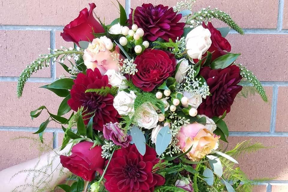 Dahlia and rose cascade