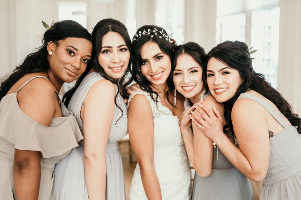 Beautiful bride and her squad