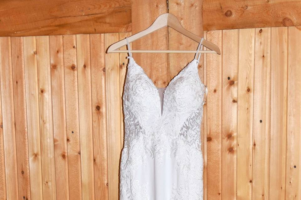 Wedding gown and boots