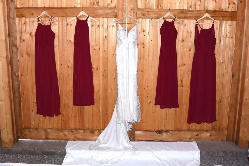 Wedding party gowns await