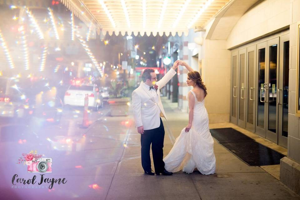Romantic spin outside the palace theater