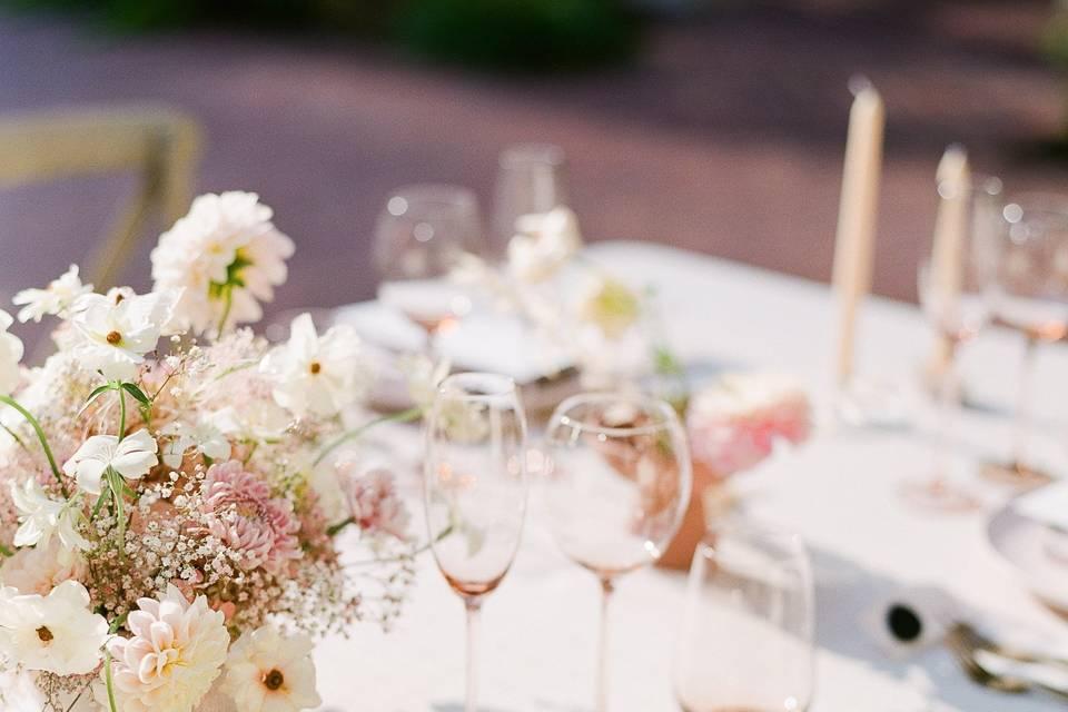 A blush palette tablescape