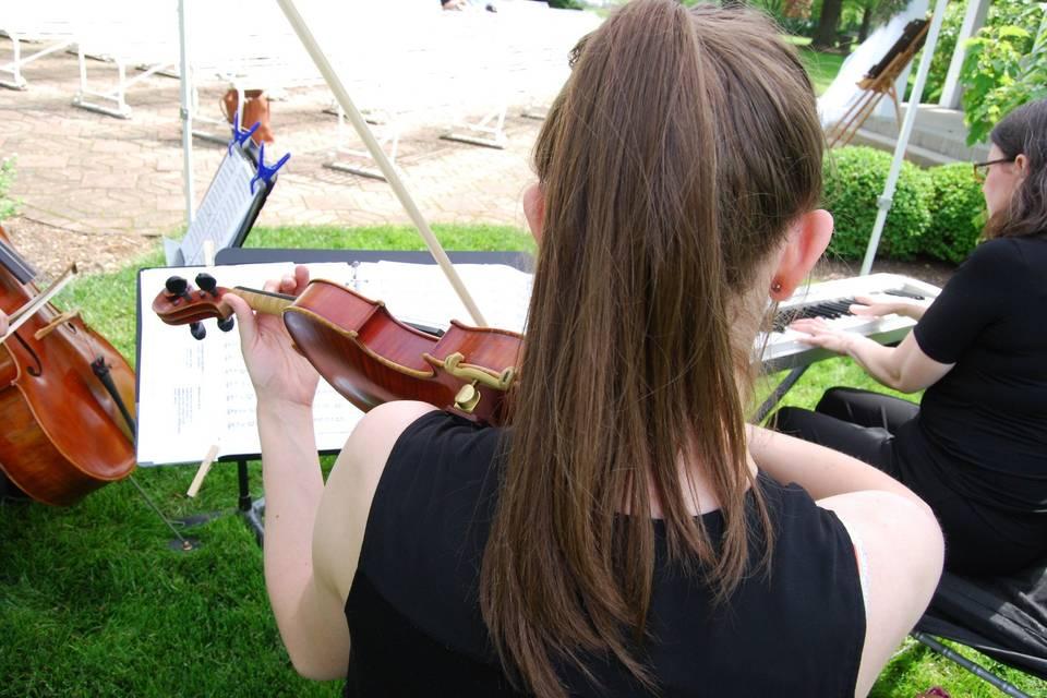 Violin, cello, and keyboard trio