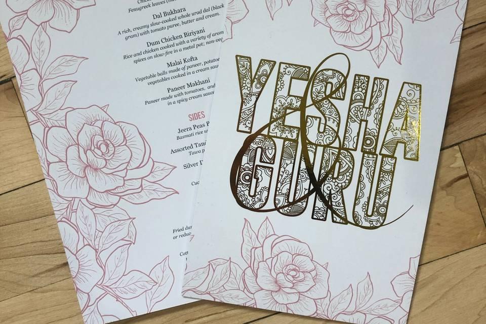 Dinner menus and gold foil