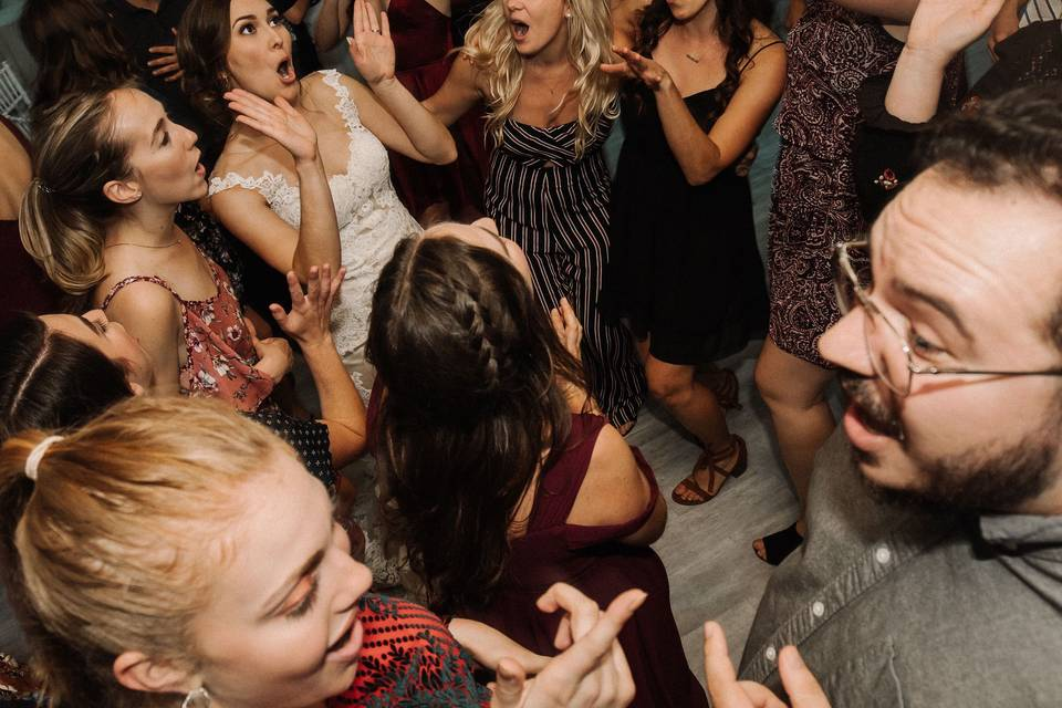 Fun dance circle among guests