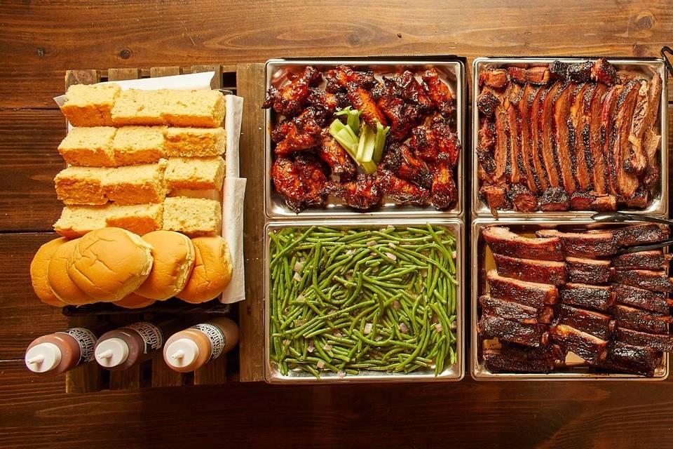 Roadhouse BBQ spread
