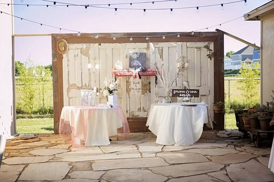 Reception in villa courtyard