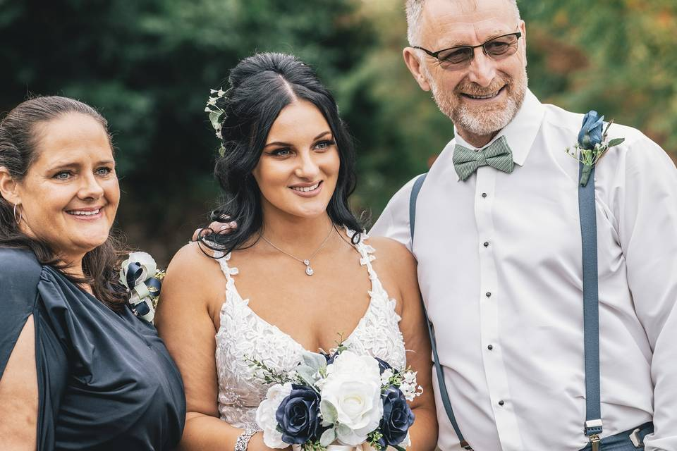 Bride and her family
