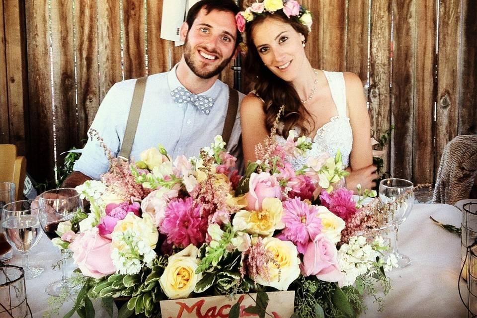 Doug & Holly's Napa Valley ranch wedding centerpiece