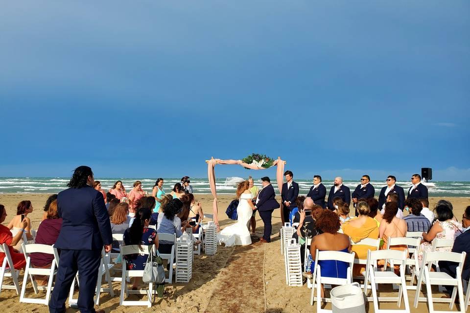 Beach ceremony set up