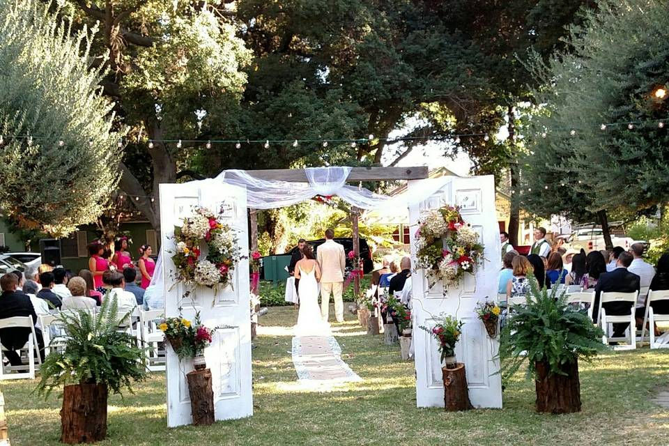 Ceremony olive tree lawn