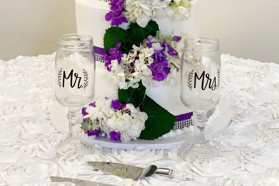 Purple/White Cascading Flowers