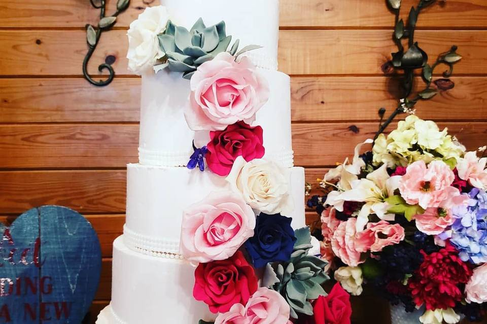 5-tier floral wedding cake